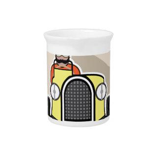 vintage race car with driver beverage pitchers
