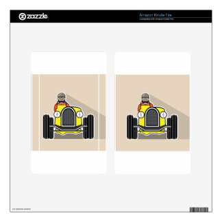 vintage race car with driver kindle fire decals
