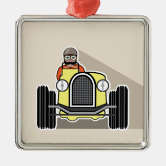 vintage race car with driver metal ornament