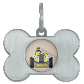 vintage race car with driver pet ID tag