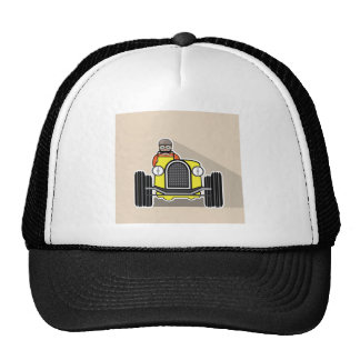 vintage race car with driver trucker hat
