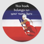 Vintage Race Cars, Patriotic Racers Bookplate Round Sticker