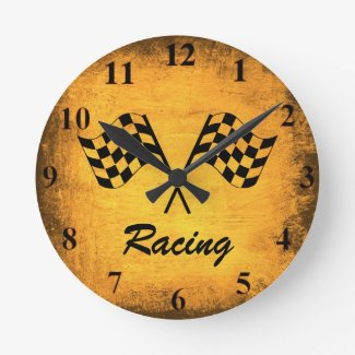 Vintage Racing Flags Wall Clock