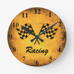 Vintage Racing Flags Wall Clock