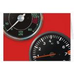 Vintage racing instruments: Classic car gauges Greeting Cards