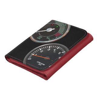 Vintage racing instruments: Classic car gauges Leather Trifold Wallets