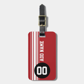 Vintage Racing Stripes - Red and Black Bag Tag