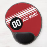 Vintage Racing Stripes - Red and Black Gel Mousepads