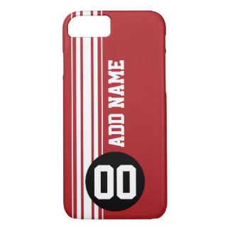 Vintage Racing Stripes - Red and Black iPhone 7 Case