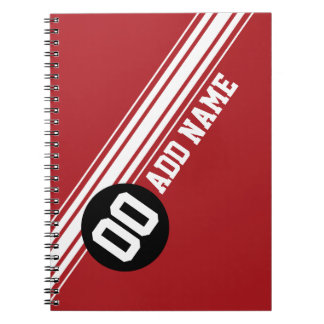 Vintage Racing Stripes - Red and Black Notebook