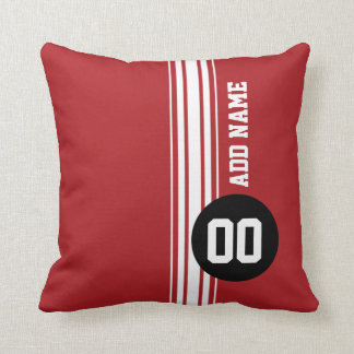 Vintage Racing Stripes - Red and Black Throw Pillows