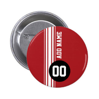 Vintage Racing Stripes - Red and Black Pinback Button