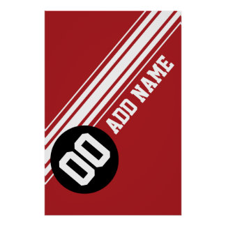 Vintage Racing Stripes - Red and Black Poster