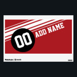 """Vintage Racing Stripes - Red and Black Wall Sticker<br><div class=""""desc"""">A retro design that is perfect for men and boys who love muscle cars and auto collectibles. Add your name and any special number. If you need to adjust the artwork,  click on the customize this button and make changes.</div>"""