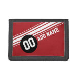 Vintage Racing Stripes - Red and Black Trifold Wallets