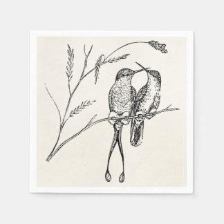 Vintage Racquet Tail Hummingbird Personalized Bird Napkin