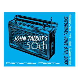 Vintage Radio 50th birthday Party Save the Date Postcard