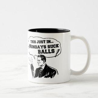 Vintage Radio Announcement: Mondays Suck Two-Tone Coffee Mug