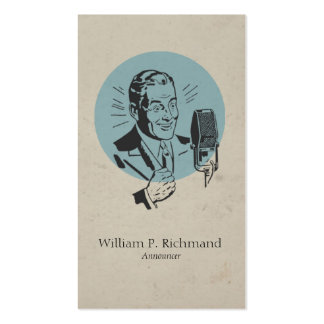 Vintage Radio Announcer Blue with Retro Circle Business Cards