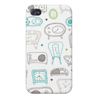Vintage radio clock retro time pattern cover for iPhone 4
