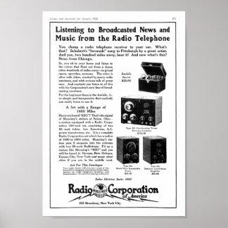 Vintage radio corporation of america ad print