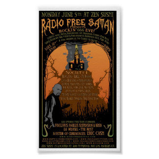 Vintage Radio Free Satan Poster