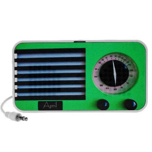 Vintage Radio - Green Portable Speakers