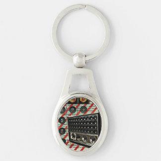 vintage radio retro electronics fashion Silver-Colored oval metal keychain