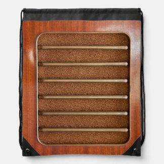 Vintage radio speaker drawstring bag