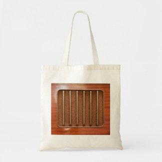Vintage radio speaker tote bag