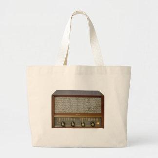 Vintage Radios in Wood Large Tote Bag