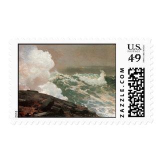 Vintage Raging Ocean Postage Stamp