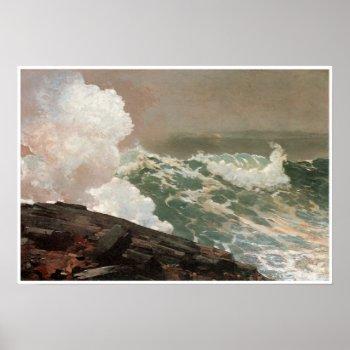 Vintage Raging Ocean Poster print