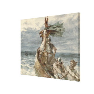 Vintage Raiding Vikings Painting (1873) Canvas Print