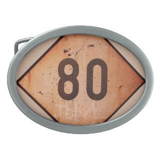 Vintage Railroad 80 Speed Sign Oval Belt Buckles