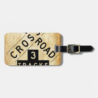 Vintage Railroad Crossing Crossbuck Bag Tag