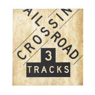 Vintage Railroad Crossing Crossbuck Notepad