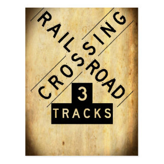 Vintage Railroad Crossing Crossbuck Postcard