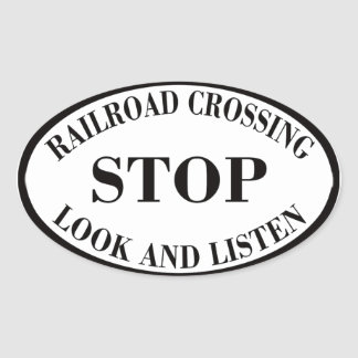 Vintage Railroad Crossing Sign Oval Sticker