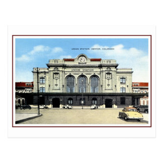 Vintage railroad, Denver union station, taxis Postcard