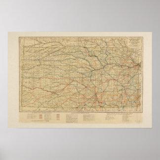 Vintage Railroad Map of Kansas Poster
