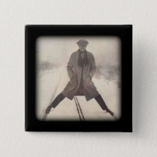 Vintage Railroad Photo c 1920s Pinback Button