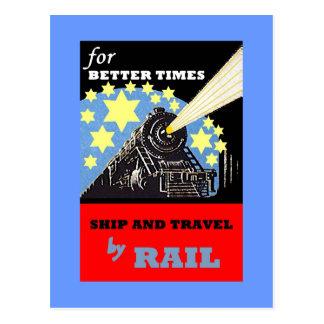 VINTAGE RAILROAD RAIL TRAVEL ADVERTISING POSTCARD