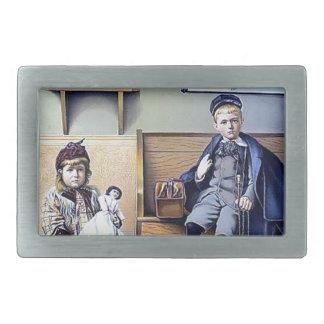 Vintage Railroad Station Boy Girl children dog Rectangular Belt Buckles