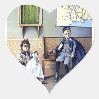 Vintage Railroad Station Boy Girl children dog Heart Sticker
