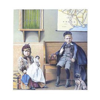 Vintage Railroad Station Boy Girl children dog Notepads