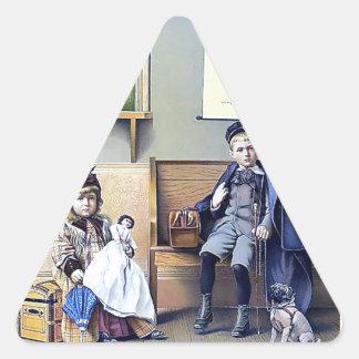 Vintage Railroad Station Boy Girl children dog Triangle Sticker