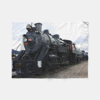 Vintage Railroad Steam Train Fleece Blanket