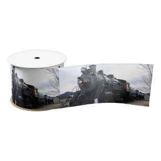 Vintage Railroad Steam Train Satin Ribbon