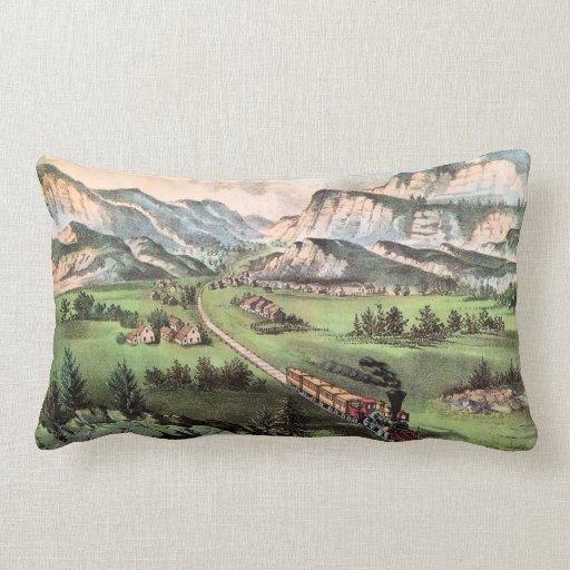 Vintage Railroad Train Crossing the Plains Throw Pillows